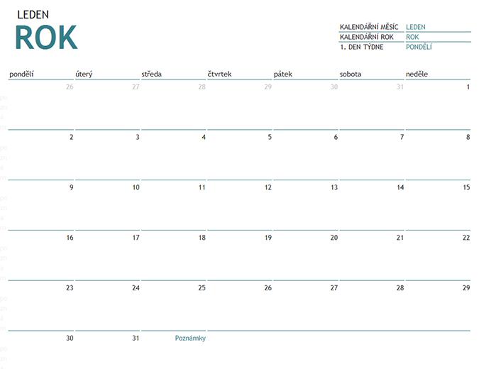 Kalendář s poznámkami na jeden měsíc v libovolném roce