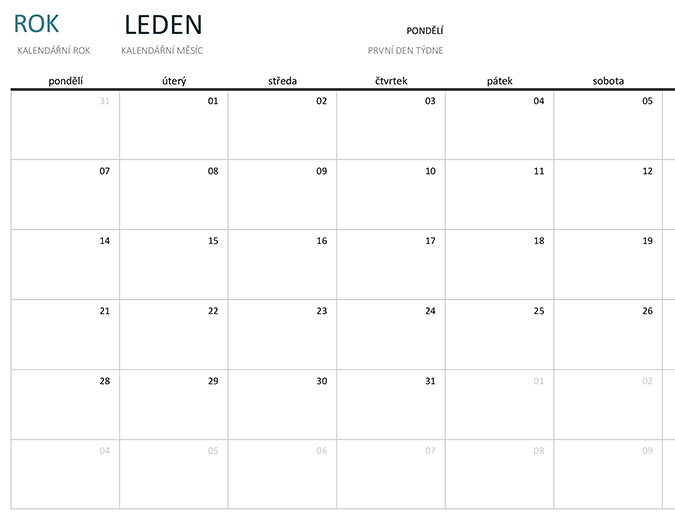 Měsíční kalendář pro každý rok