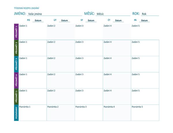 Týdenní rozpis zadání (barevný, na šířku)