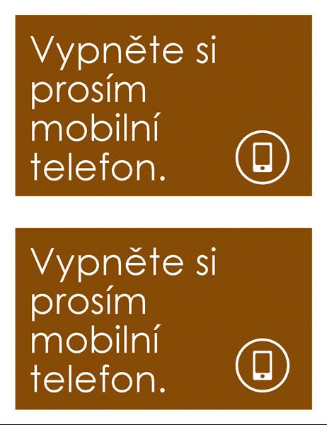 Oznámení o zákazu používání mobilních telefonů (2 na stránce)