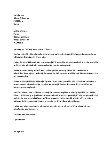 Dopis vyjadřující podporu členovi místního zastupitelstva