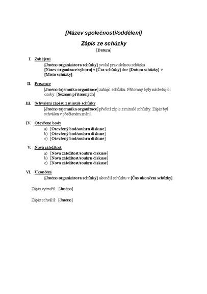 Zápis z formální schůzky