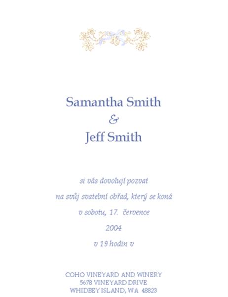 Pozvánka na svatbu (tradiční)
