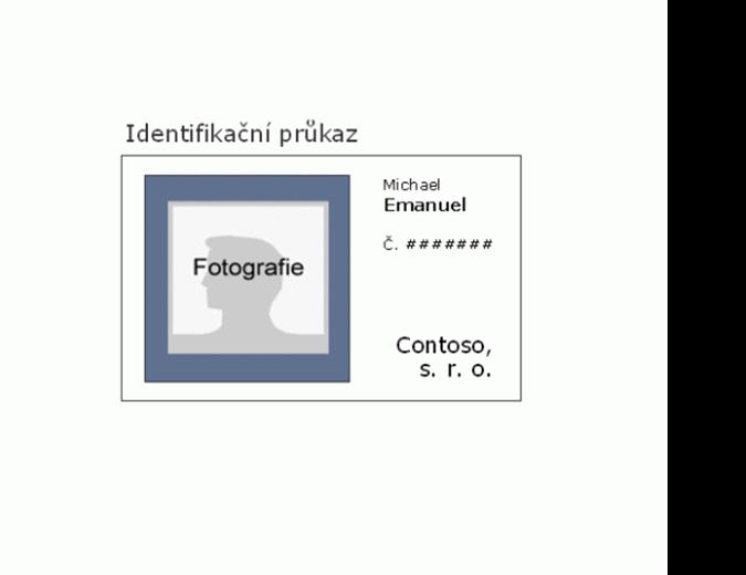 Identifikační průkaz zaměstnance (na šířku)