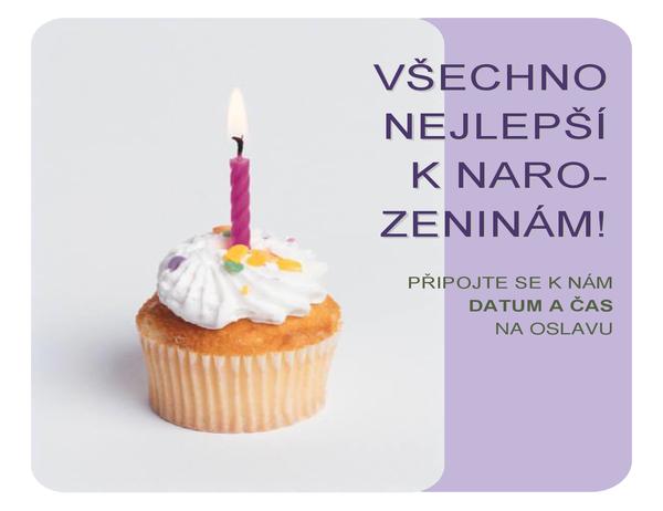 Pozvánka na narozeninovou oslavu (s cupcakem)