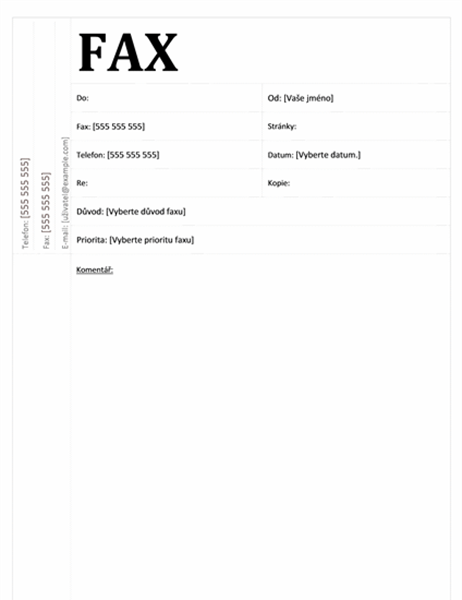 Titulní stránka faxu (akademický návrh)