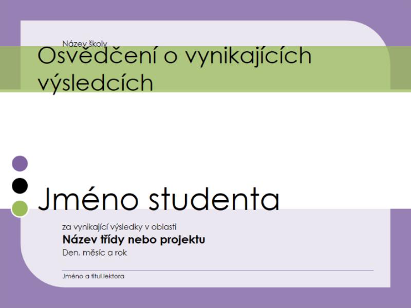 Osvědčení o vynikajících výsledcích studenta