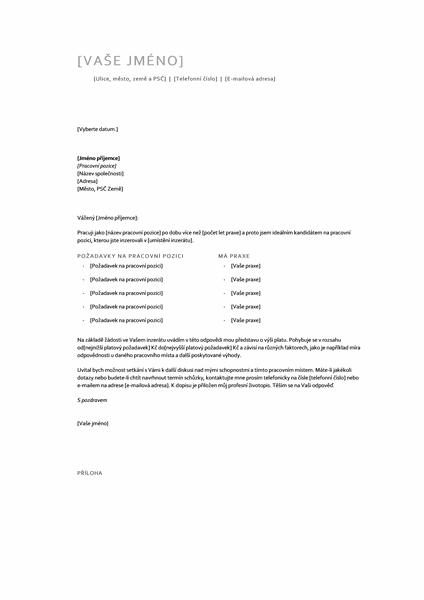 Dopis přiložený k životopisu s platovými požadavky