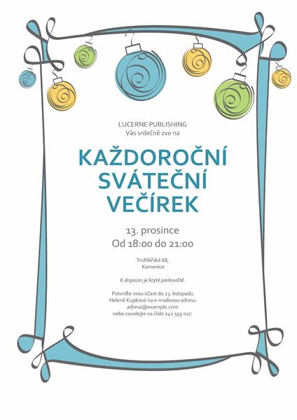 Pozvánka na sváteční večírek s modrými, zelenými a žlutými ozdobami (neformální vzhled)