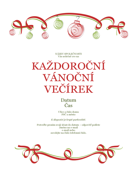 Pozvánka na sváteční večírek s červenými a zelenými ozdobami (formální vzhled)