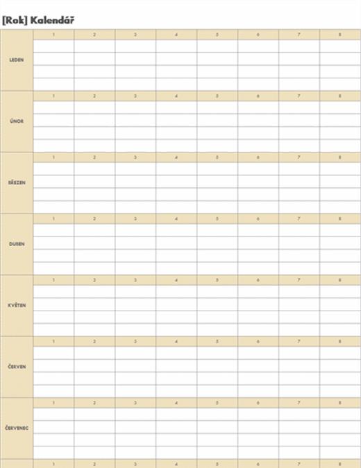 Časově neomezený kalendář (vodorovný)
