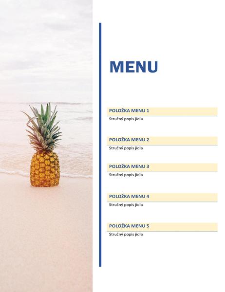 Slavnostní menu (motiv se sluncem a pískem)