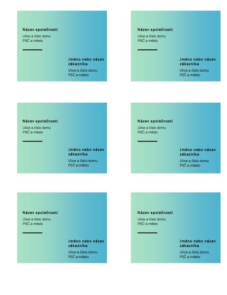 Expediční štítky (návrh se zeleným přechodem, 6 na stránku, pro Avery 5164)