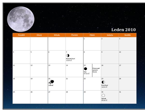 Lunární kalendář 2010 (univerzální čas)