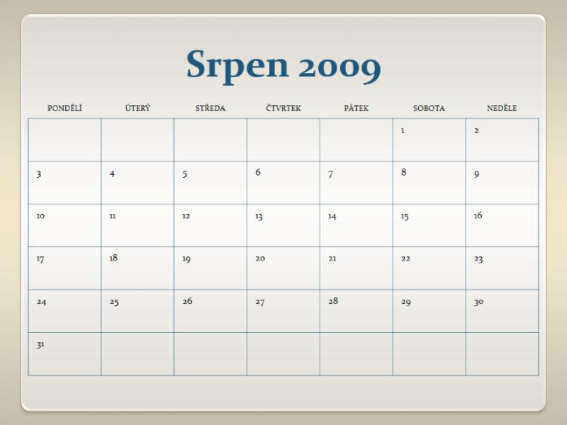 Kalendář akademického roku 2009–2010 (13 stránek, pondělí–neděle)