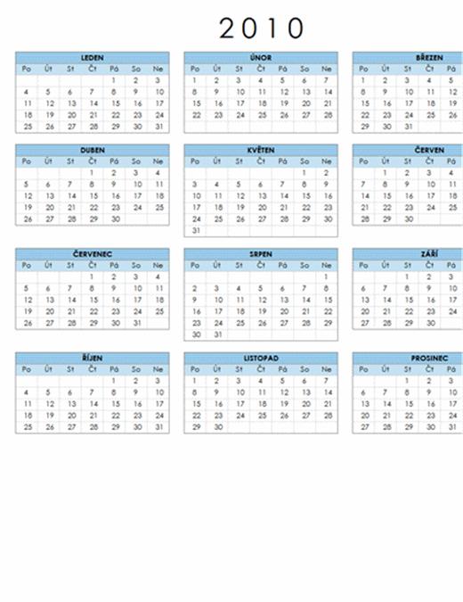 Kalendář 2010 (1 stránka, na šířku, pondělí–neděle)