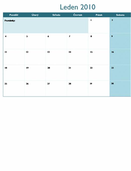 Kalendář 2010 na více listech (12 stránek, pondělí–neděle)