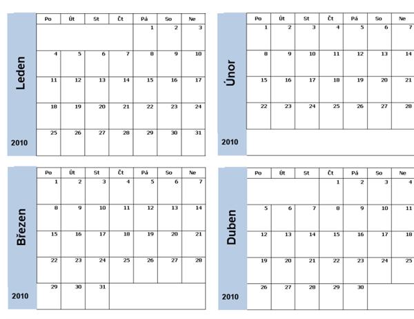Kalendář 2010 s modrým okrajem (3 stránky, pondělí až neděle)