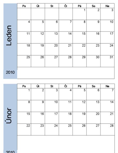 Kalendář 2010 s modrým okrajem (6 stránek, pondělí až neděle)