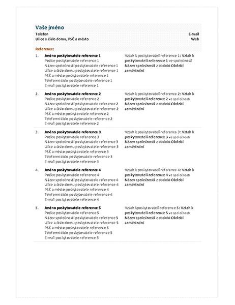 Seznam poskytovatelů referencí k funkčnímu životopisu