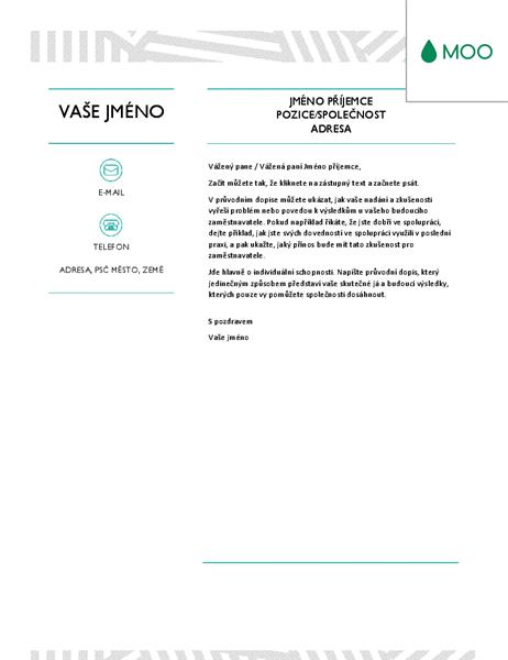 Kreativní průvodní dopis, návrh od společnosti MOO
