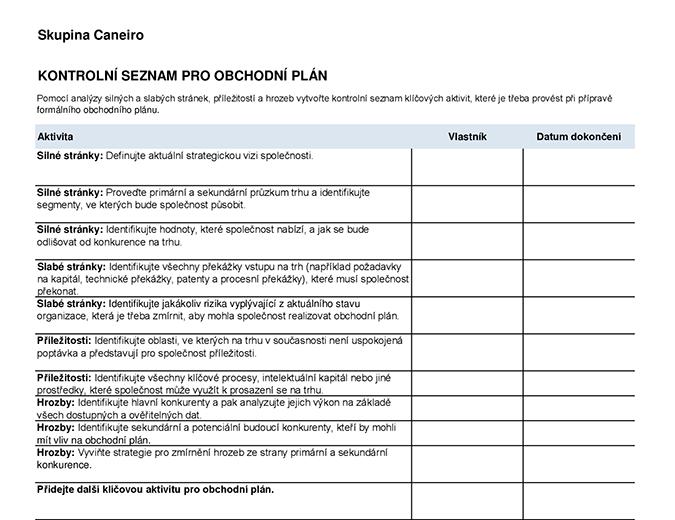 Kontrolní seznam pro obchodní plán