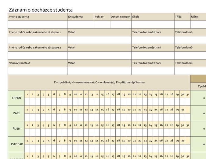 Záznam o docházce studenta (jednoduchý)