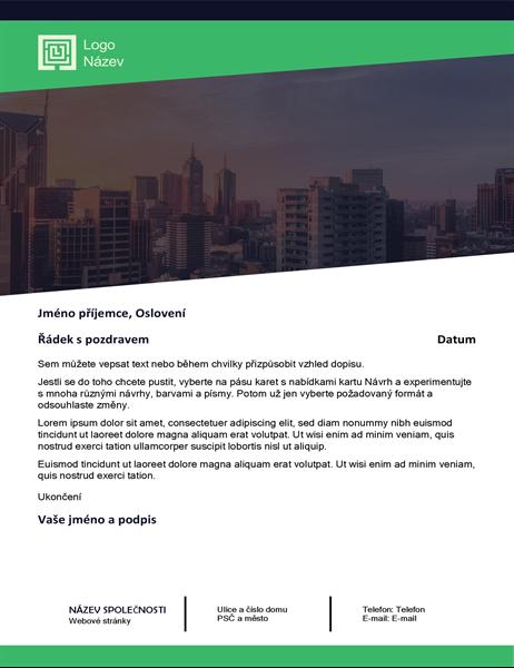Obchodní dopis (návrh se zeleným lesem)