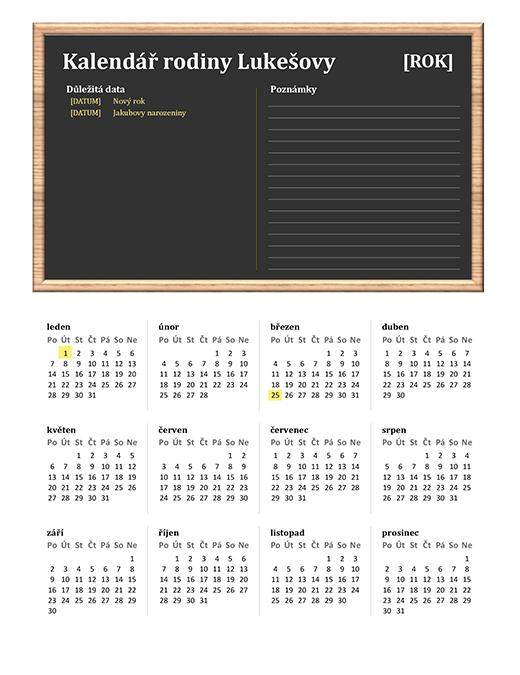 Rodinný kalendář (libovolný rok, pondělí–neděle)
