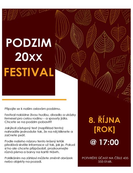 Leták o podzimním festivalu