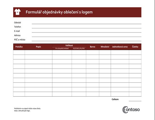 Formulář objednávky oblečení s logem