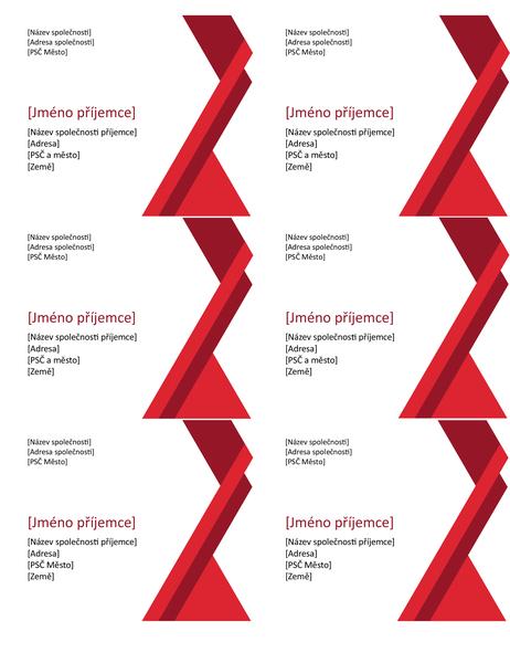 Štítky s výraznými úhly (6 na každé stránce)