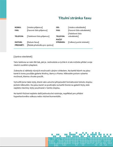 Titulní stránka faxu s minimalistickou technologií