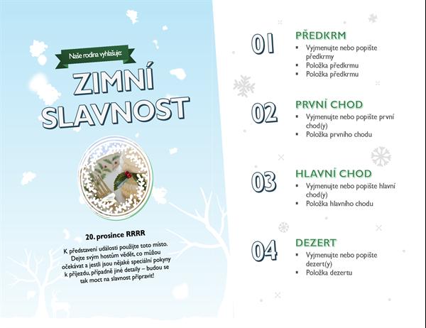 Sváteční menu s fotkou a motivem sněhu