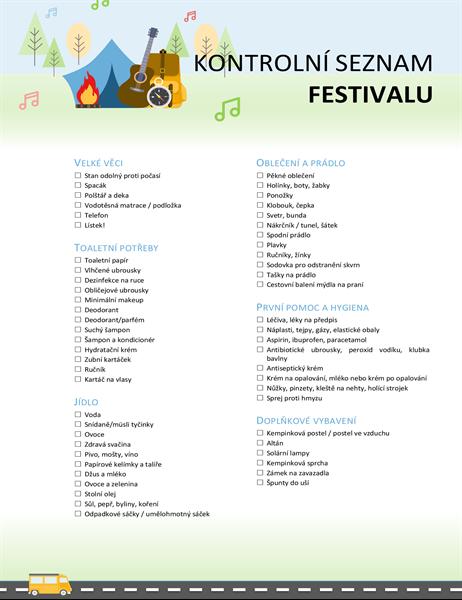 Kontrolní seznam festivalu