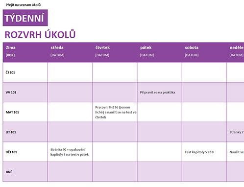 Týdenní seznam úkolů