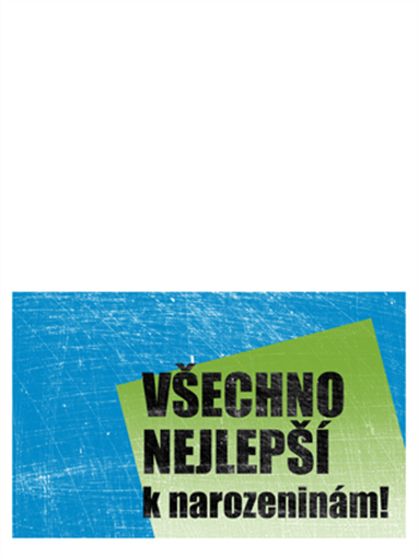 Přání k narozeninám, poškrábané pozadí (modré, zelené, přeložené napůl)