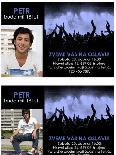 Pozvánky na večírek (modré na černém podkladu)