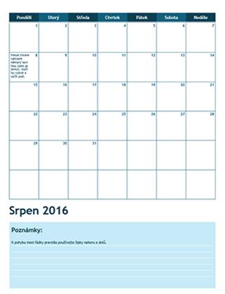 Školní rozvrh na jeden měsíc (od pondělí)