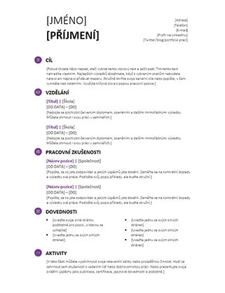 Životopis pro studenty (moderní návrh)