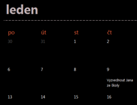 Věčný kalendář (černá barva)