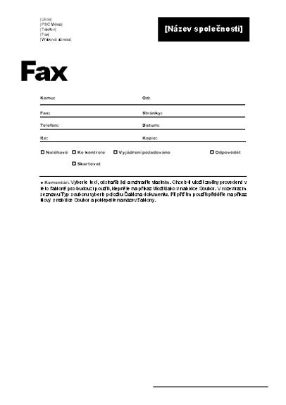 Titulní stránka faxu (pracovní motiv)