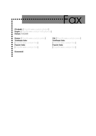 Titulní stránka osobního faxu