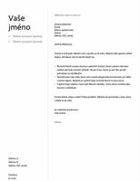 Průvodní dopis k chronologickému životopisu (jednoduchý návrh)