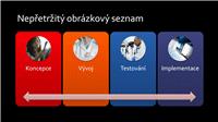 Snímek s obrázkem SmartArt nepřetržitého obrázkového seznamu (různé barvy na černém pozadí), širokoúhlý