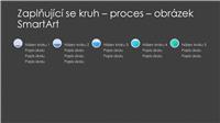 Snímek s obrázkem SmartArt zaplňujících se kruhů procesu (šedá a modrá na černém pozadí), širokoúhlý