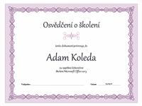 Certifikát o absolvování školení (fialový design s motivem řetězu)