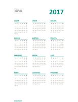 Kalendář s přehledem roku 2017 (Po–Ne)