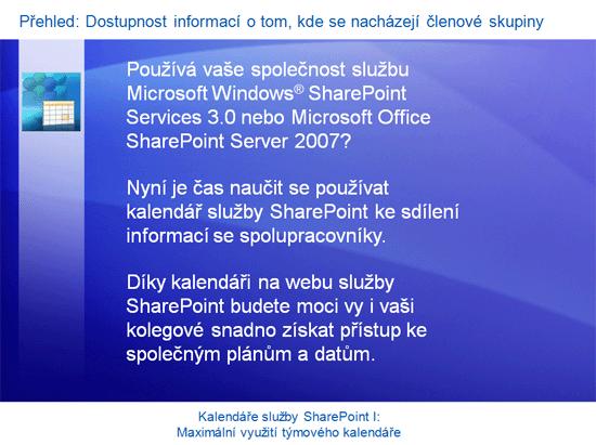 Školicí prezentace: SharePoint Server 2007 – Kalendáře I: Maximální využití týmového kalendáře