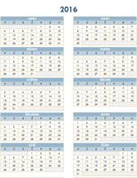 Roční kalendář (2016 až 2025)